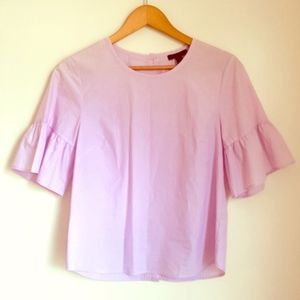 J Crew Lilac Blouse with Ruffled Bell Sleeves XS